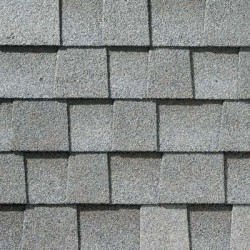 Close up photo of GAF's Timberline HD Fox Hollow Gray shingle swatch