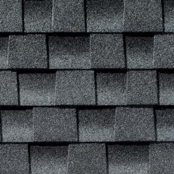 Close up photo of GAF's Timberline HD Pewter Gray shingle swatch