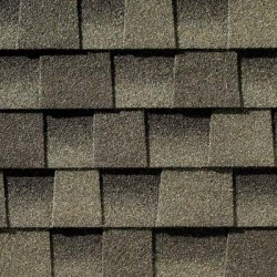 Close up photo of GAF's Timberline HD Weathered Wood shingle swatch